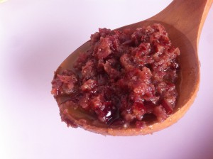 vinagreta de arandanos y especias dukkah