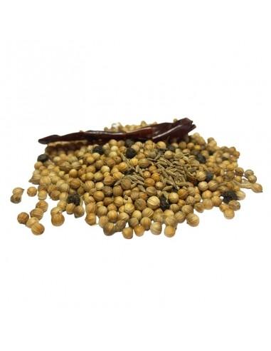 especias reunidas para caracoles y espinacas